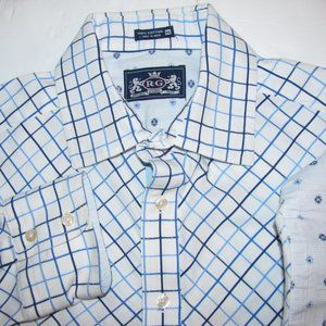 Robert Graham Flip Cuff Blue white Diamond Mens XL